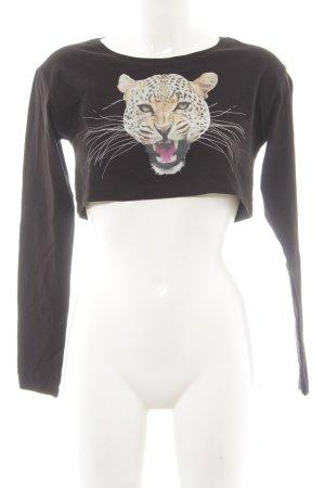 MTWTFSSWEEKDAY Camisa recortada negro-crema estampado de animales