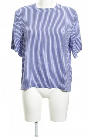 MTWTFSSWEEKDAY Kurzarm-Bluse weiß-kornblumenblau Streifenmuster Business-Look