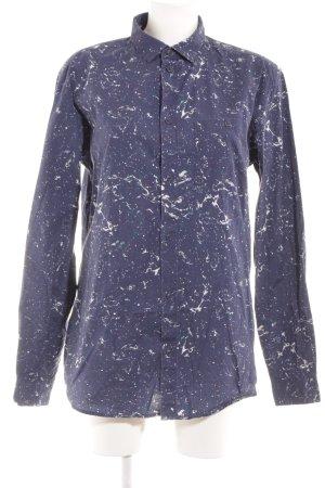 MTWTFSSWEEKDAY Langarm-Bluse dunkelblau-weiß Galaxymuster sportlicher Stil