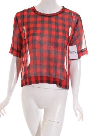 MTWTFSSWEEKDAY Transparenz-Bluse rot-schwarz Karomuster Casual-Look