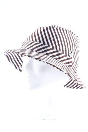 Mühlbauer Fischerhut weiß-dunkelbraun Streifenmuster Vintage-Look
