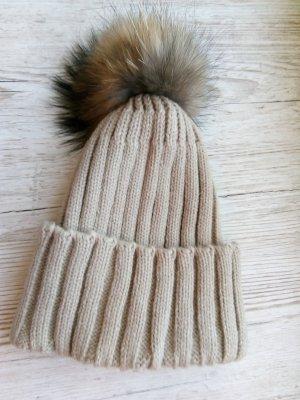 Chapeau en tricot chameau coton