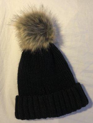 Chapeau en tissu noir-beige