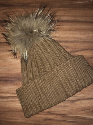 Hallhuber Knitted Hat brown-cognac-coloured