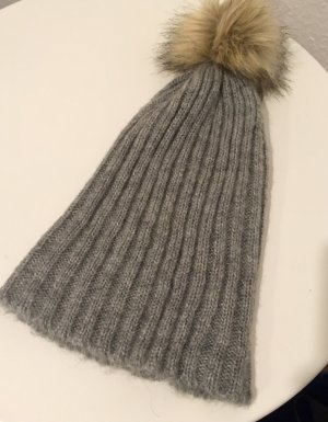 Pieces Knitted Hat beige-grey