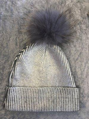 Chapeau en tricot argenté-gris anthracite