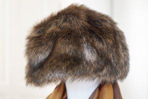 Mütze aus Kunstfell Hut Vintage-Look Faux Fur hat braun Kunstpelz Pelz