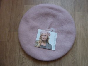 Mütze Barett Hut Cap Baskenmütze mit Blütenapplikation rosa