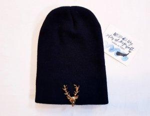 Mütze Beanie mit abnehmbarer Brosche schwarz Design neu