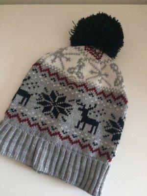 Mütze Beanie Norweger Muster Winter neu Bommel