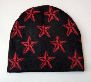 Mütze Beanie schwarz 3D Sterne Wollmütze NEU kalte Tage Herbst Accessoire