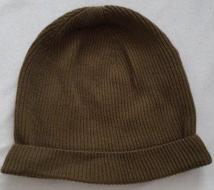 Mütze Beanie Strick grün oliv khaki H&M gerippt