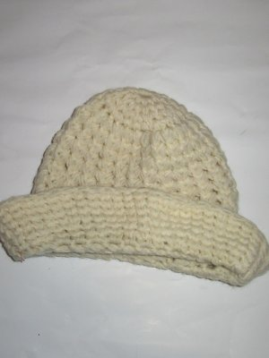Vintage Knitted Hat natural white