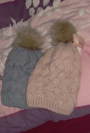 Mütze Bommel Fell rosa grau