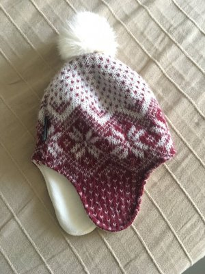 Napapijri Bobble Hat natural white-dark red