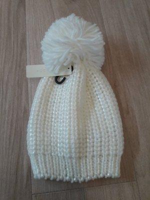 Mütze Bommelmütze Folienstrick Pudelmütze weiß wollweiß neu mit Etikett