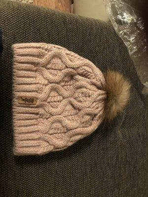 Cappello in pelliccia color oro rosa-bronzo Pelliccia
