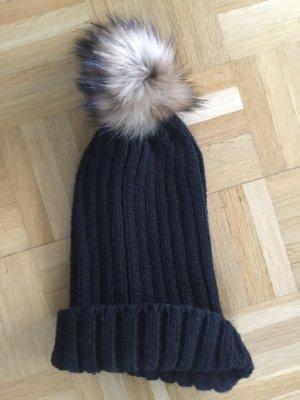 Chapeau en tricot noir polyester