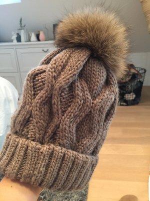 Fur Hat light brown-bronze-colored fur