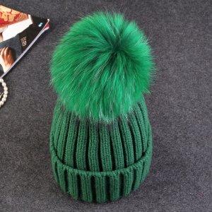 Mütze Grün Pelz Waschbär Fell Beanie