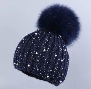 Mütze in blau mit Echtfell Bommel Strass Perlen Neu