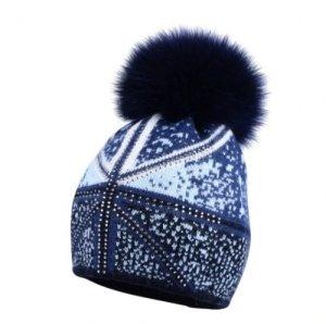 Mütze in blau Muster Steinchen mit Echtfell Bommel Neu