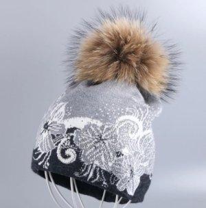 Mütze in grau Muster Steinchen mit Echtfell Bommel Neu