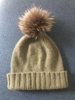 inverni Fur Hat khaki cashmere