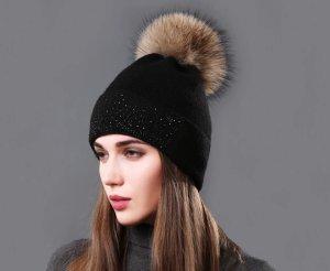 Mütze in schwarz Strass Steinchen mit Echtfell Bommel Neu