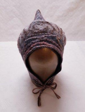 Mütze Merinowolle neu unikat dunkel bis hellbraun beige grau rost Einzelstück unisex