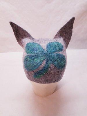 Mütze Merinowolle neu unikat hellgrau grün Katzenohren Kleeblatt Einzelstück