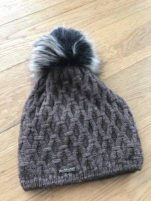 Mütze mit Bommel in taupe braun mit Fleece warm Wintermütze