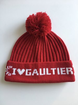 Jean Paul Gaultier Bobble Hat carmine-natural white