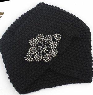 Chapeau en tricot noir-argenté