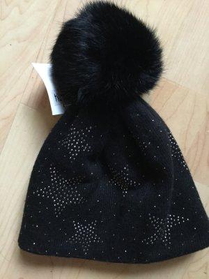 Mütze mit Fellbommel XL Kaninchen Wollmütze Schwarz  m. Cashmir *Neu*