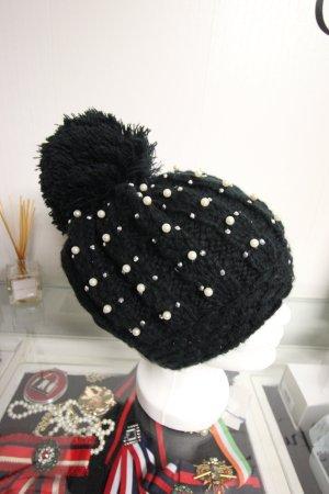 Mütze mit Perlen Strass Nieten Herbst Winter Bommel