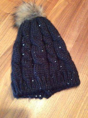 Knitted Hat black-light grey mixture fibre