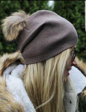 Mütze mit XXL Fellbommel Braun Nude Neu Kaschmir