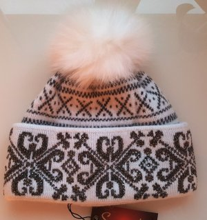 Mütze, Pudelmütze mit Echtfell, Grau-weiß mit Strass-Applikation, Angora/Wolle