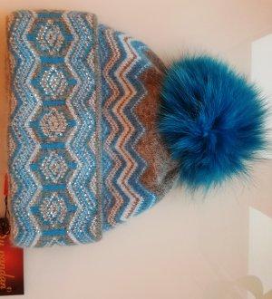Mütze, Pudelmütze mit Echtfell, Türkis mit Strass-Applikation, Angora/Wolle