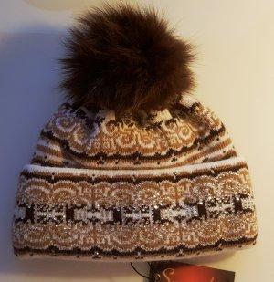 Bonnet à pompon brun