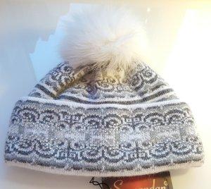 Mütze, Pudelmütze mit Echtpelz mit Strass-Applikation, Angora/Wolle