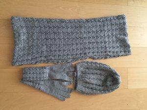 Mütze Schal Handschuhe grau