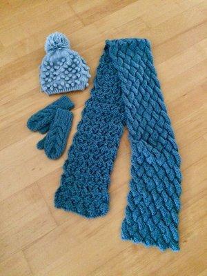 Pieces Chapeau en tricot gris ardoise-bleu pâle