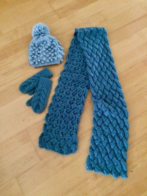 Pieces Knitted Hat slate-gray-pale blue