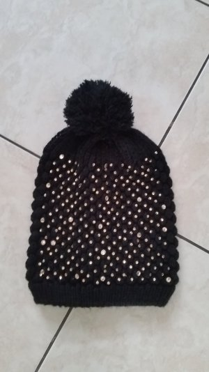 Chapeau en tricot noir-doré