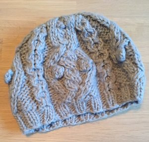 H&M Knitted Hat silver-colored synthetic fibre