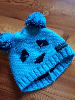 Sansibar sylt Bonnet à pompon noir-bleu clair