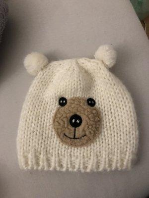 Mütze teddy bommeln weiss