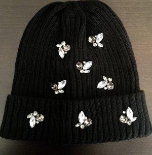 Sombrero de punto negro tejido mezclado
